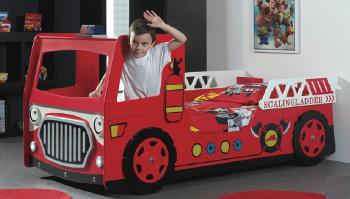 Fire Engine Bed With LED Headlight
