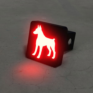 Doberman Pinschers Silhouette LED Hitch Cover - Brake Light