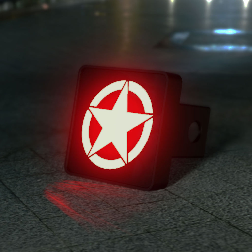 Military Star LED Hitch Cover - Brake Light