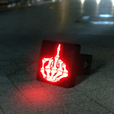 Skeleton Middle Finger LED Hitch Cover - Brake Light