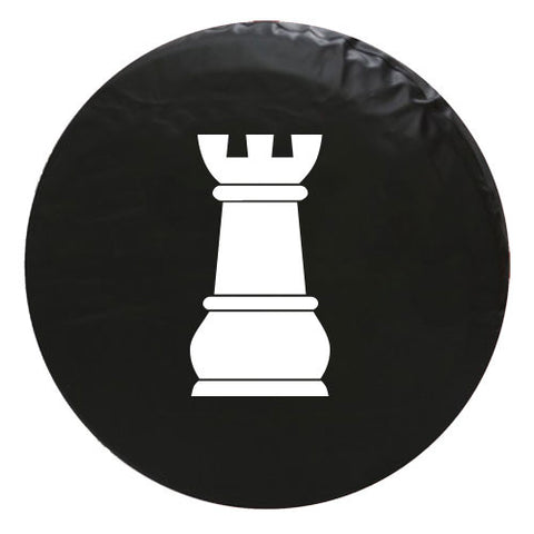 Rook Chess Piece Vinyl Spare Tire Cover
