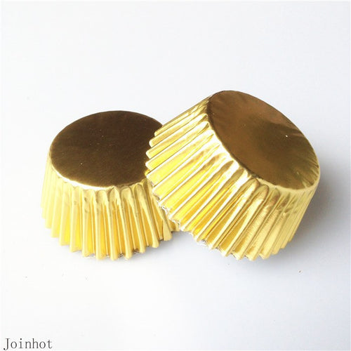100 Pcs Gold Paper Cupcake Liners