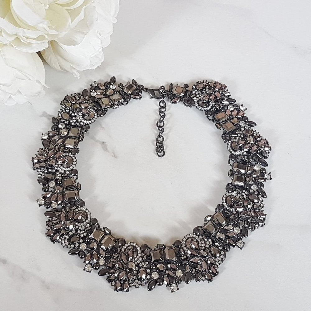 grey statement rhinestone necklace