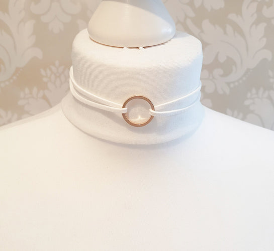 White & Gold Suede Circle Choker