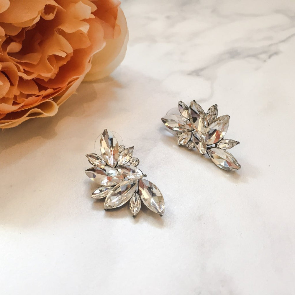 clear rhinestone petal earrings for her, ladies stud earrings and statement stud earrings