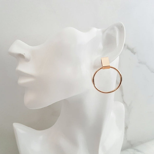 CARA Geometric Gold Hoop Earrings