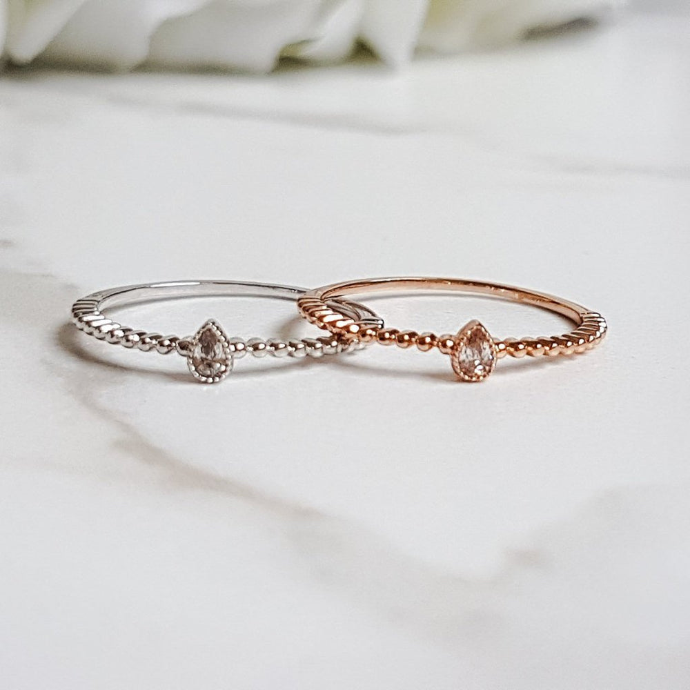 Rose gold crystal ring for women