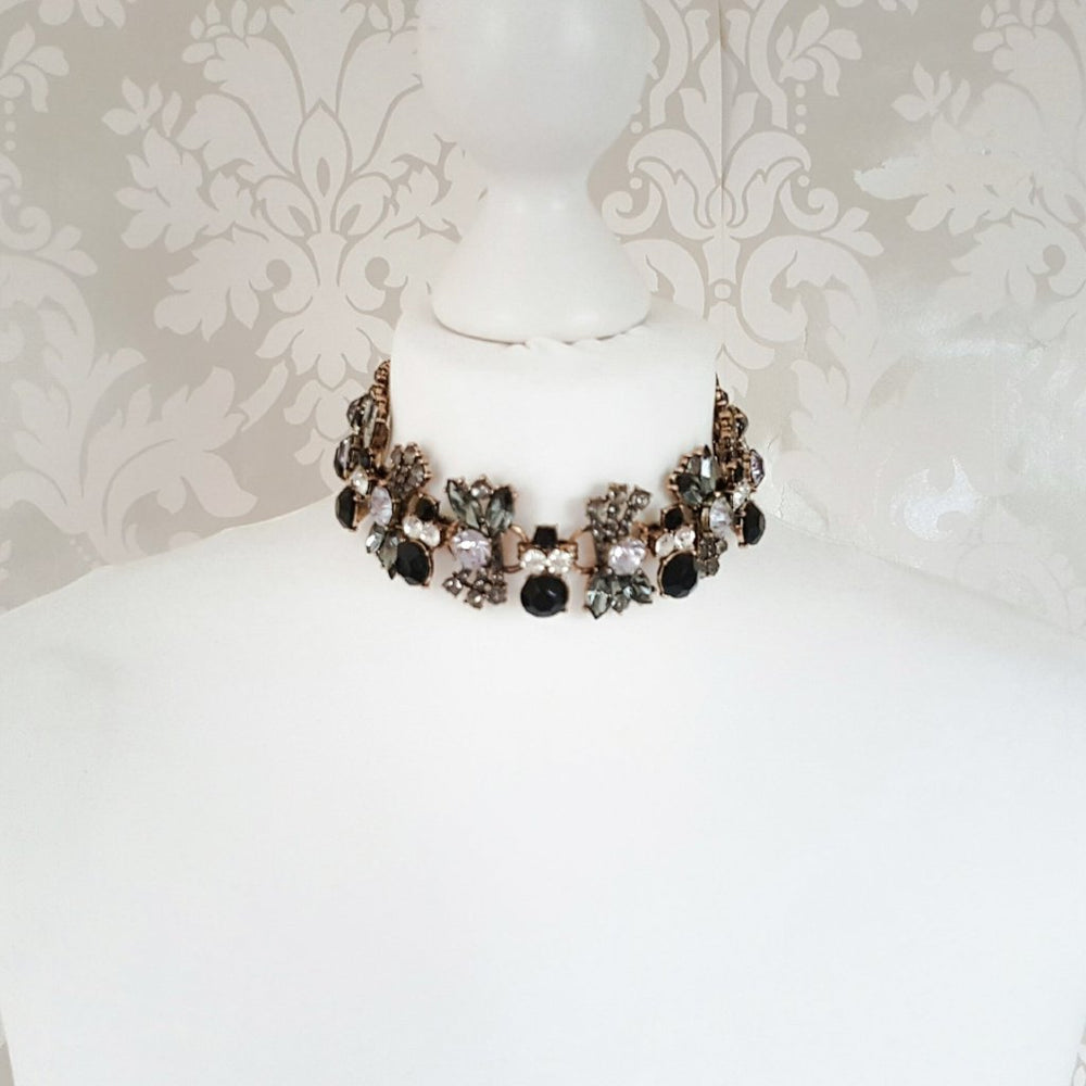 black and grey choker necklace