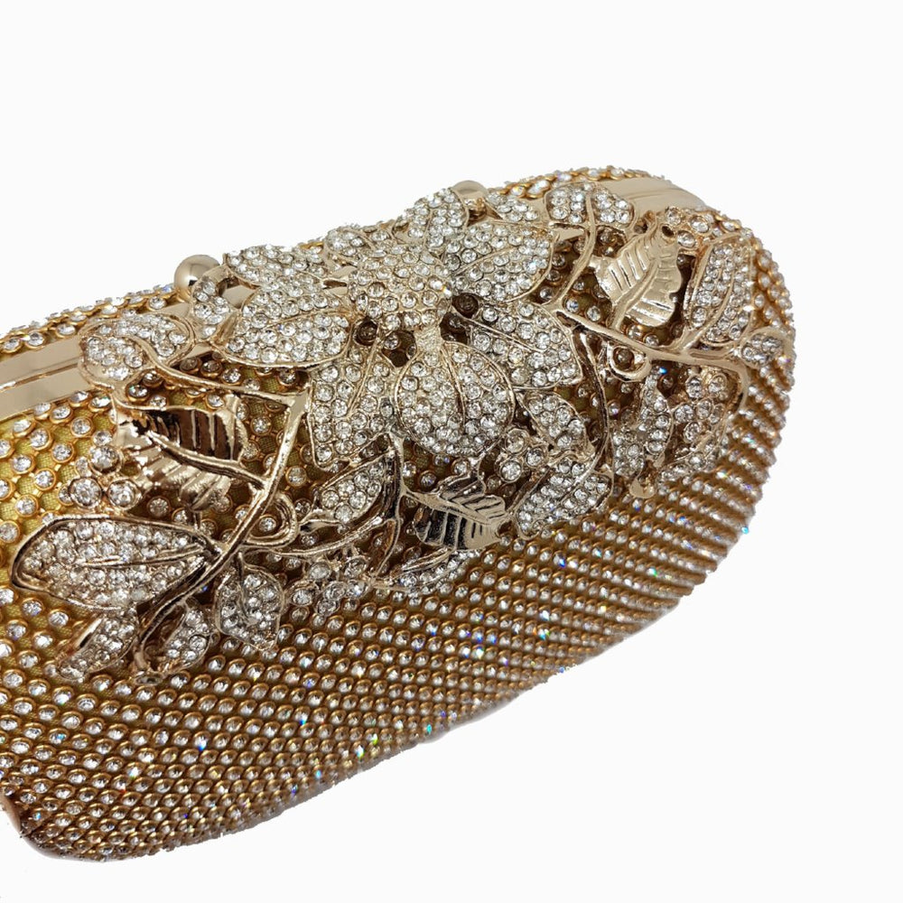 INDIA Gold Embellished Sparkle Clasp Clutch Bag