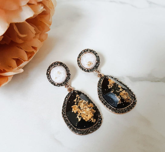 black and gold marble earrings for women