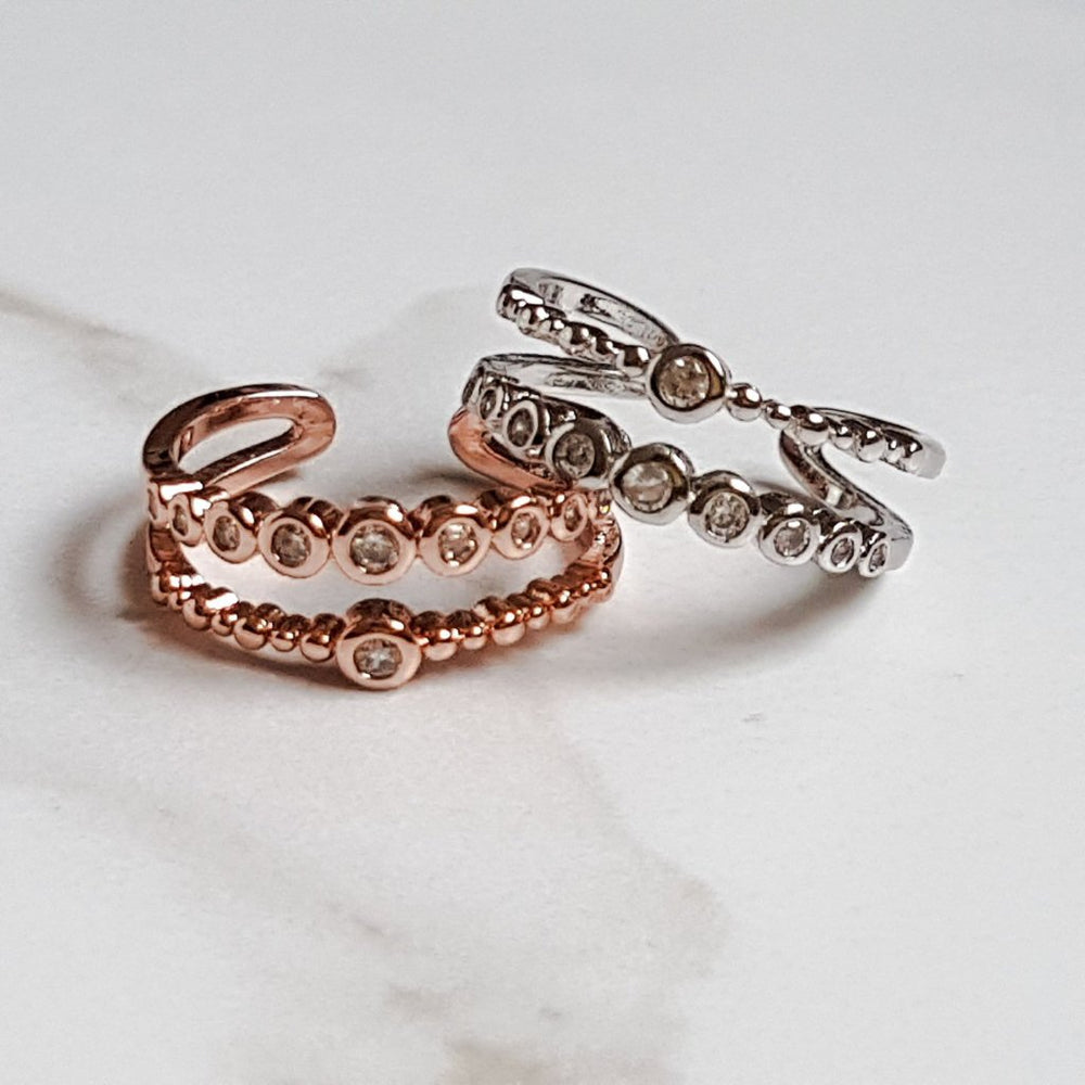 rose gold and silver adjustable rings