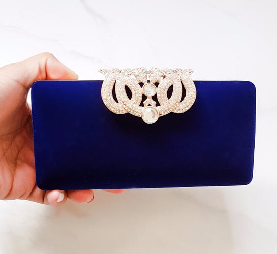 Royal blue womens clutch bag with rhinestone embellished clasp