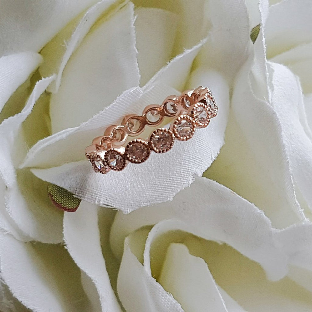 JADA Rose Gold & Silver Rhinestone Band Ring