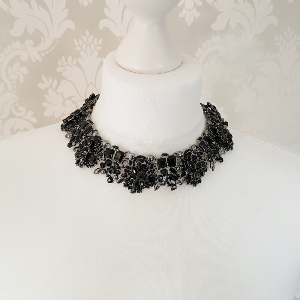 ladies black jewel statement necklace
