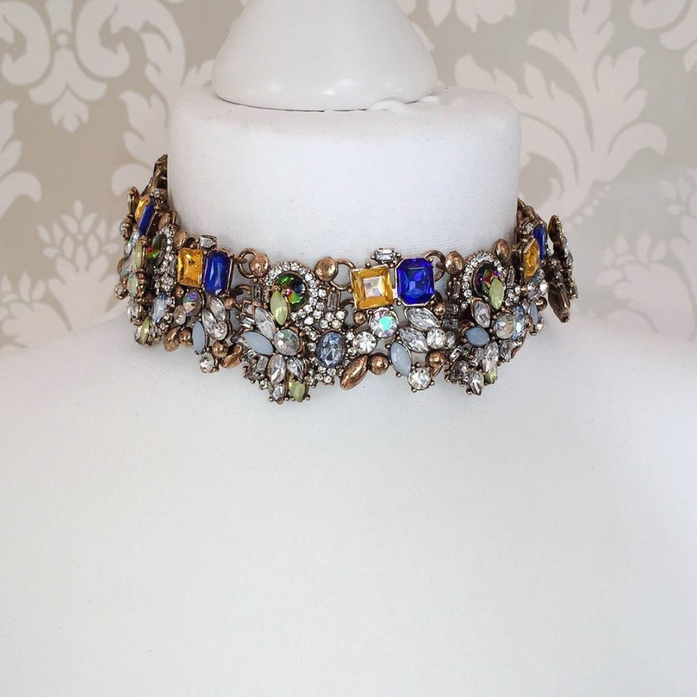 multicoloured statement choker necklace