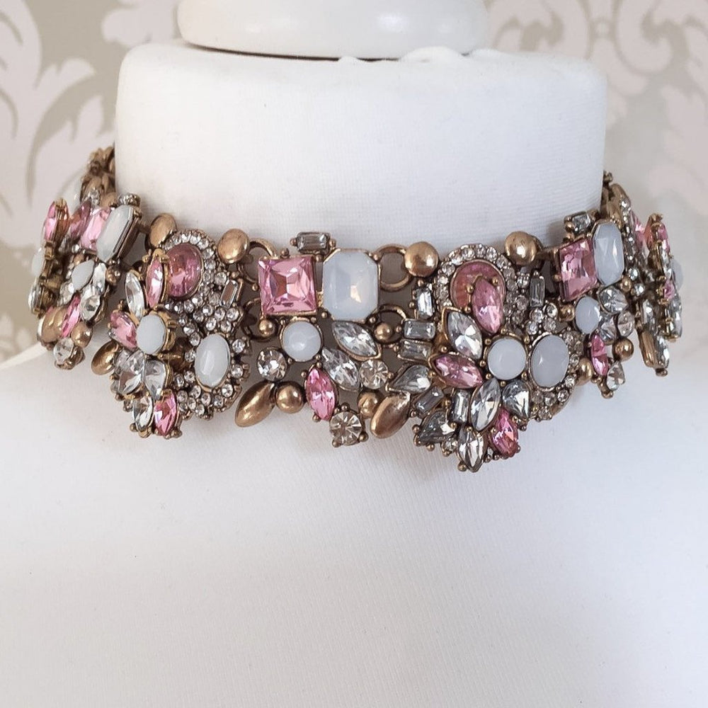 gold and pink jewel choker
