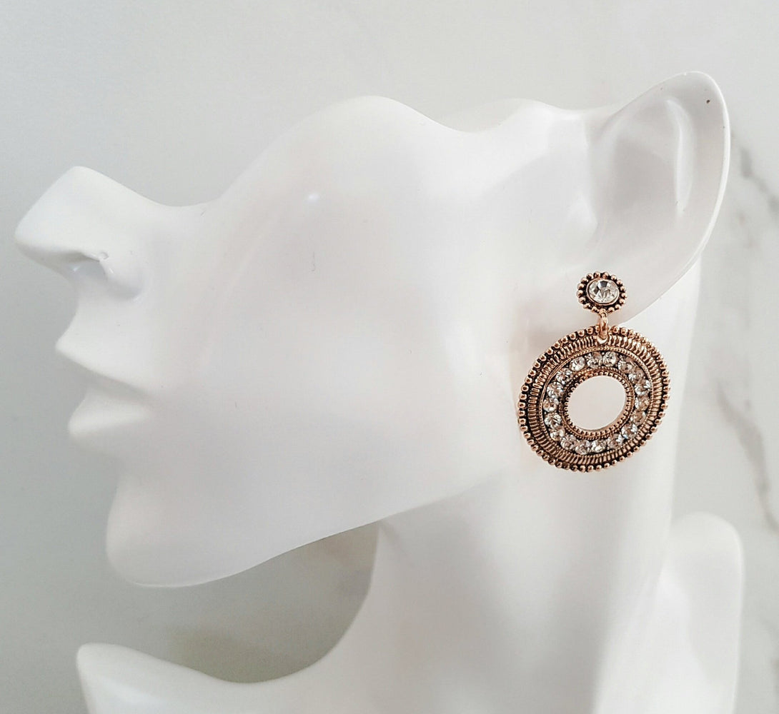 Womens gold hoop drop earrings