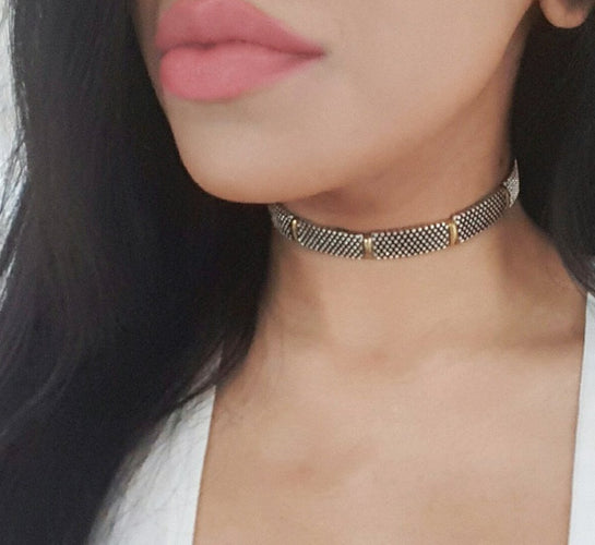 silver and gold textured womens choker