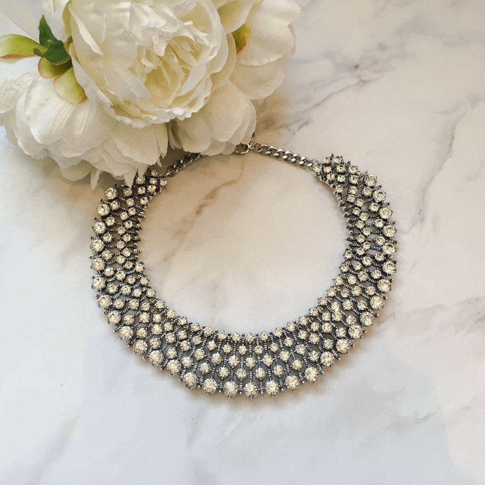 silver jewelled statement bib necklace for worn as seen on Kate Middleton