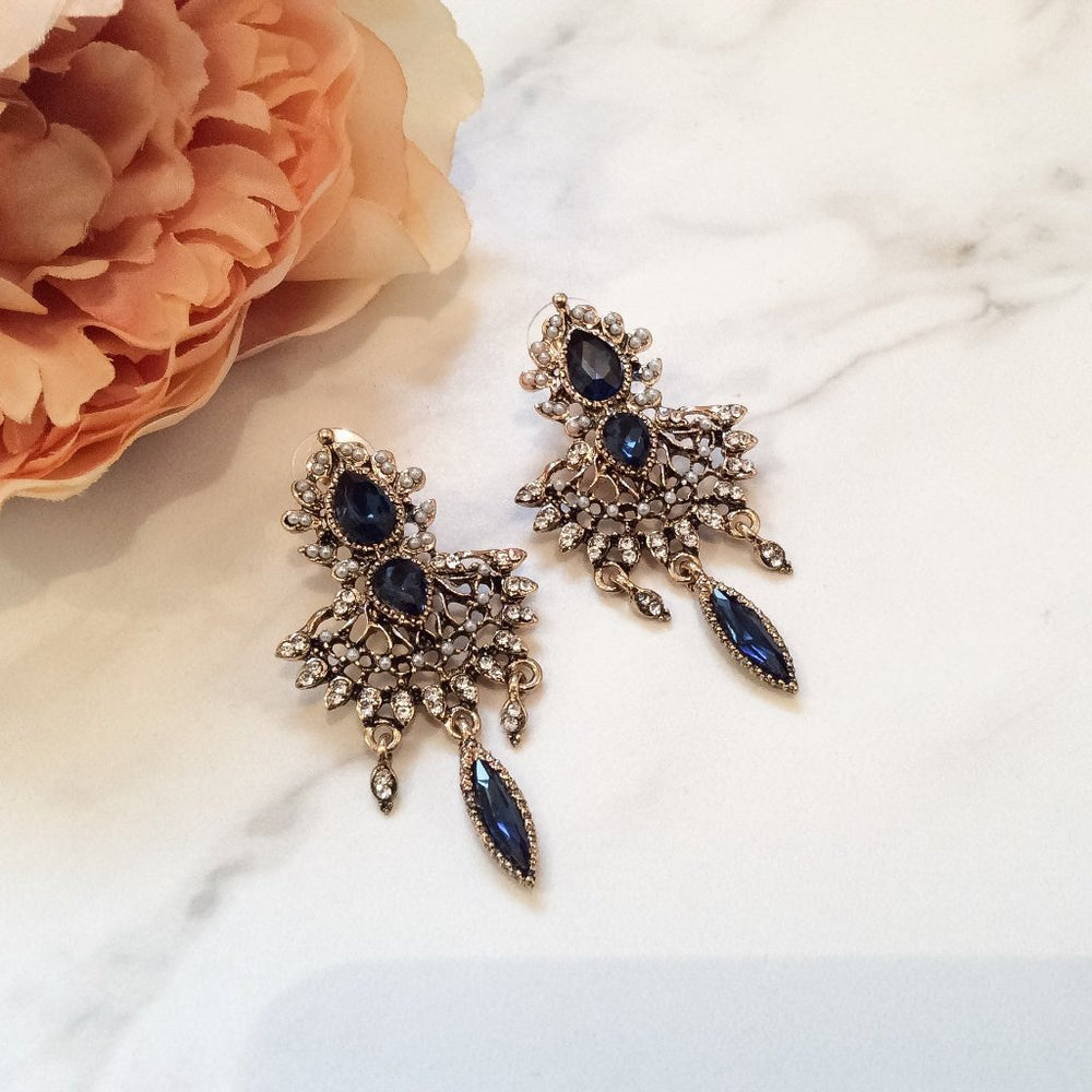 Blue Statement earrings for women's evening wear