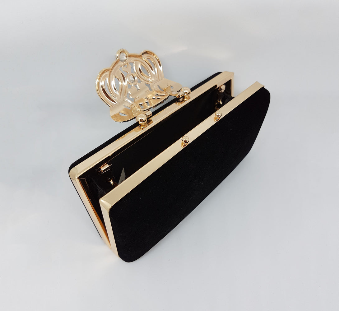 ERYN Embellished Black Suede Clutch