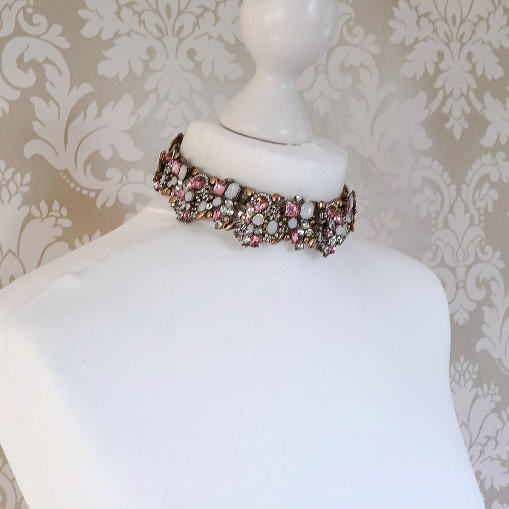 statement pink and gold choker