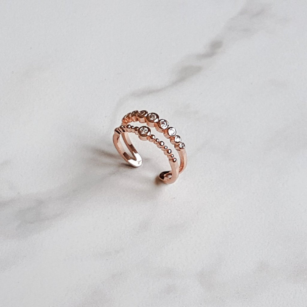 rose gold adjustable ladies ring with crystal band