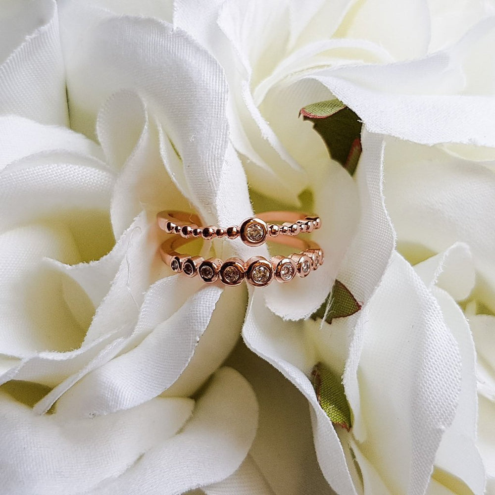 rose gold two band ring