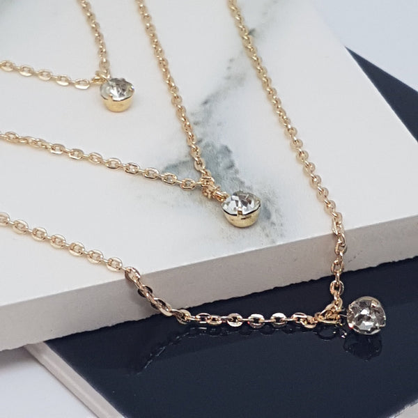 AMINA Gold Rhinestone Layered Necklace