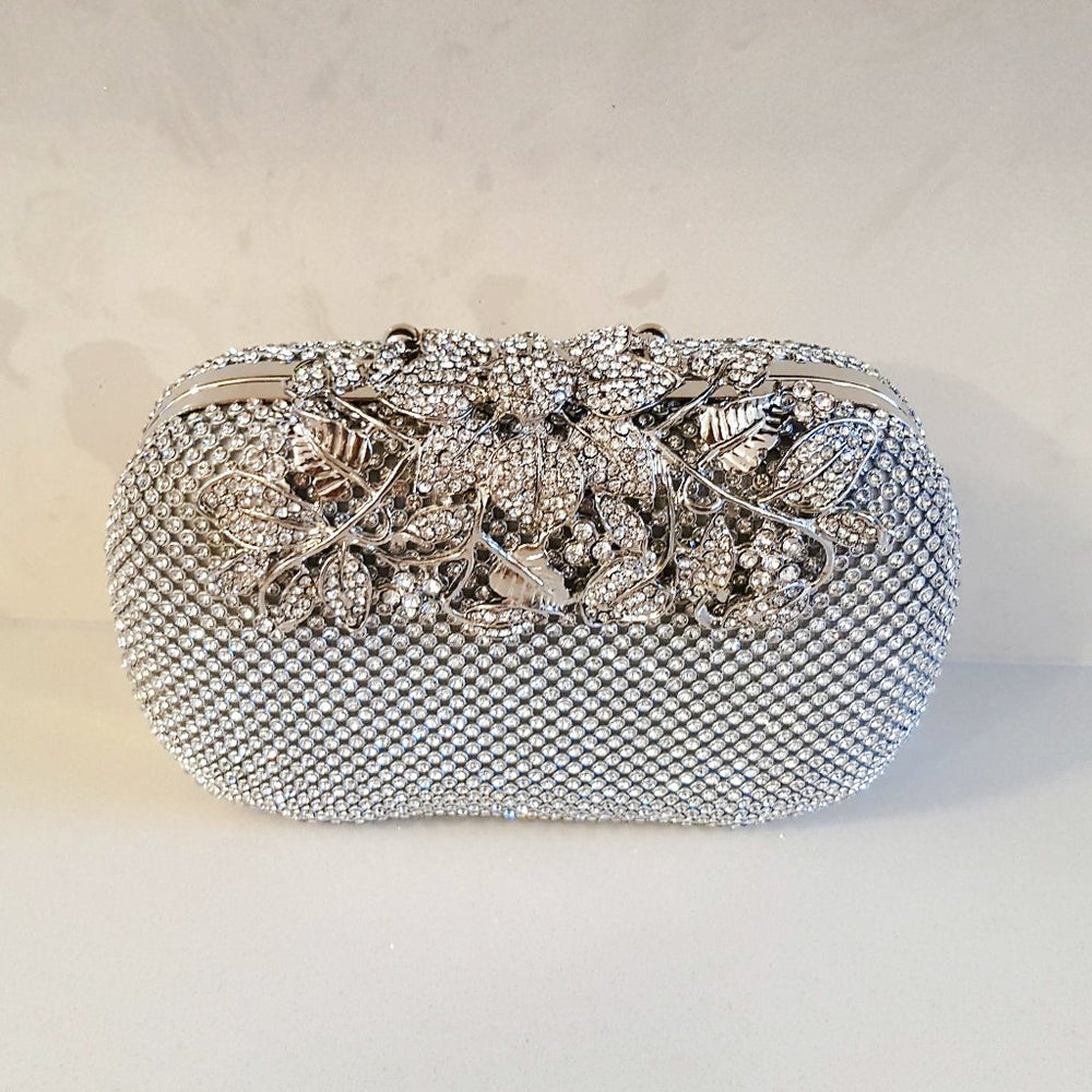 womens silver rhinestone embellished clasp clutch bag