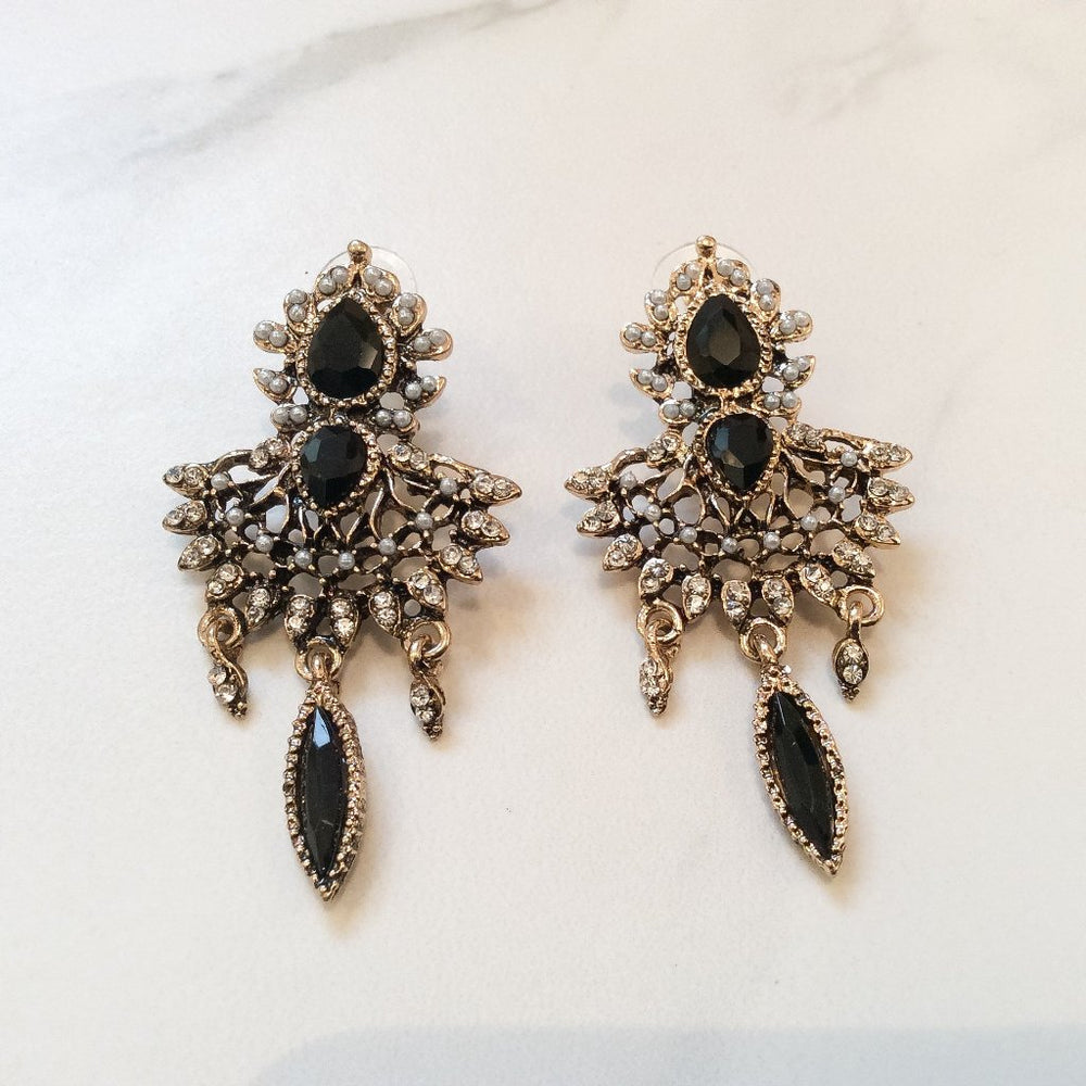 womens black and gold statement earrings
