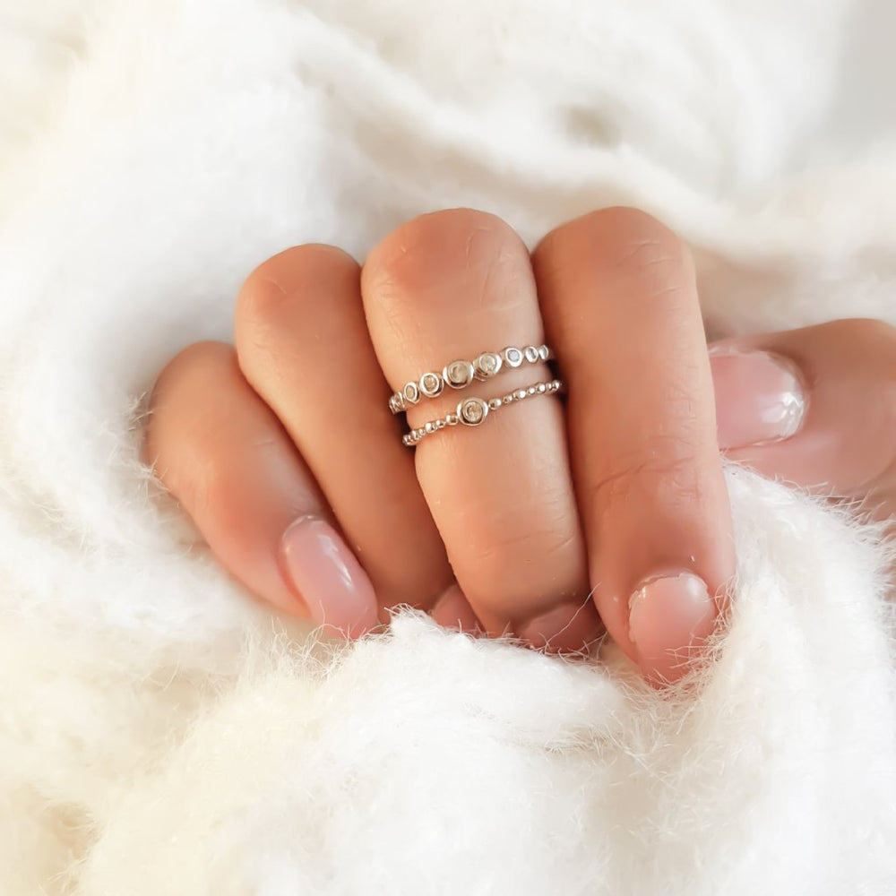 silver ladies midi ring with double band