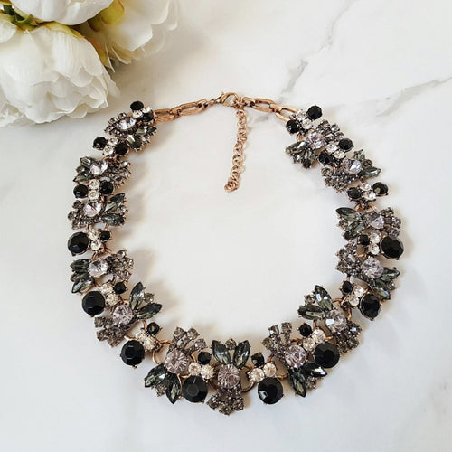 black jewel rhinestone necklace