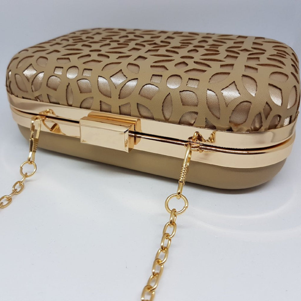 nude designer bag with gold chain jewels by house of aria
