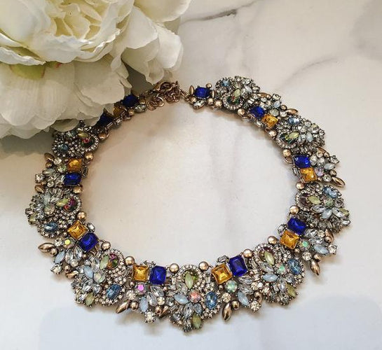 multicoloured rhinestone necklace