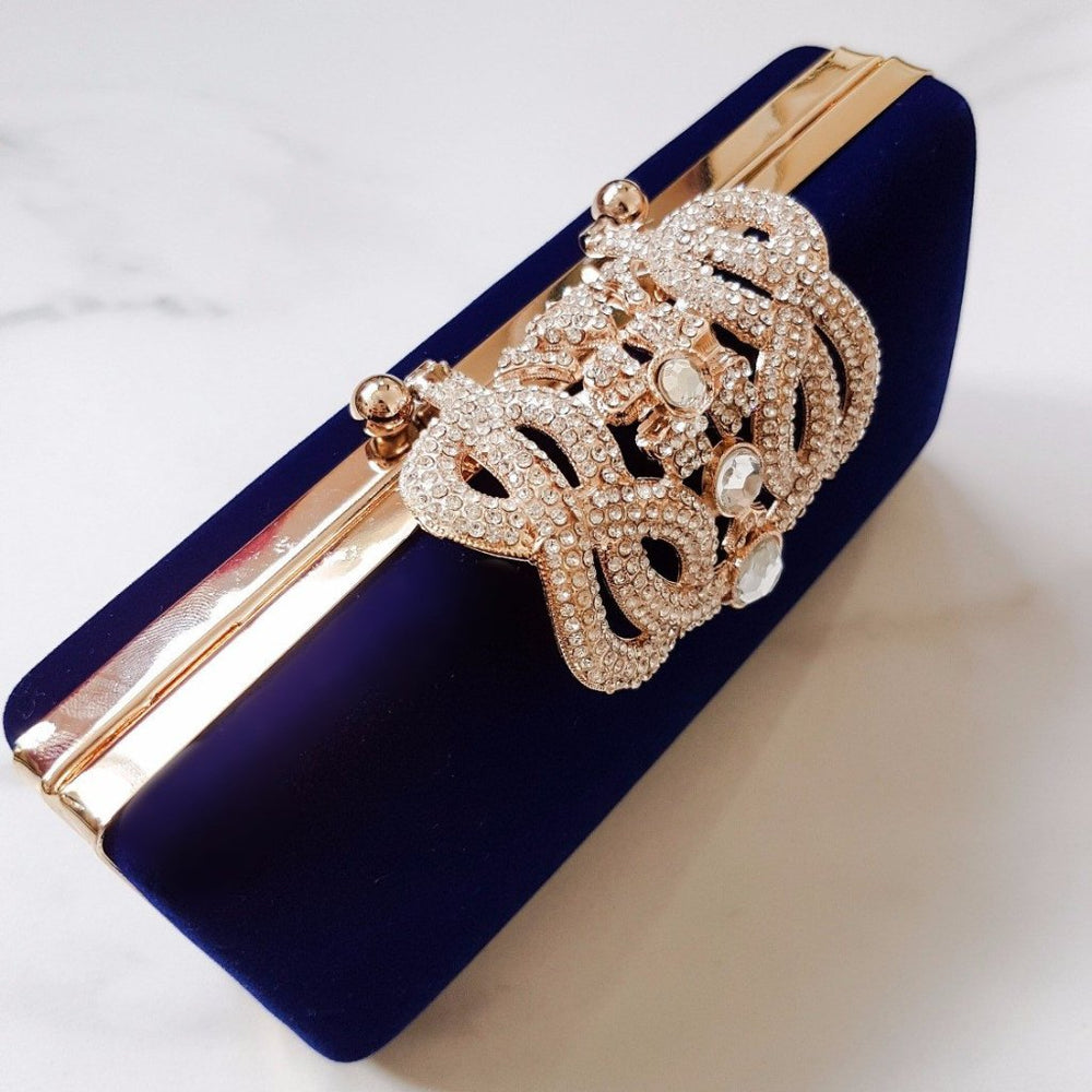 Royal Blue velvet clutch bag for women