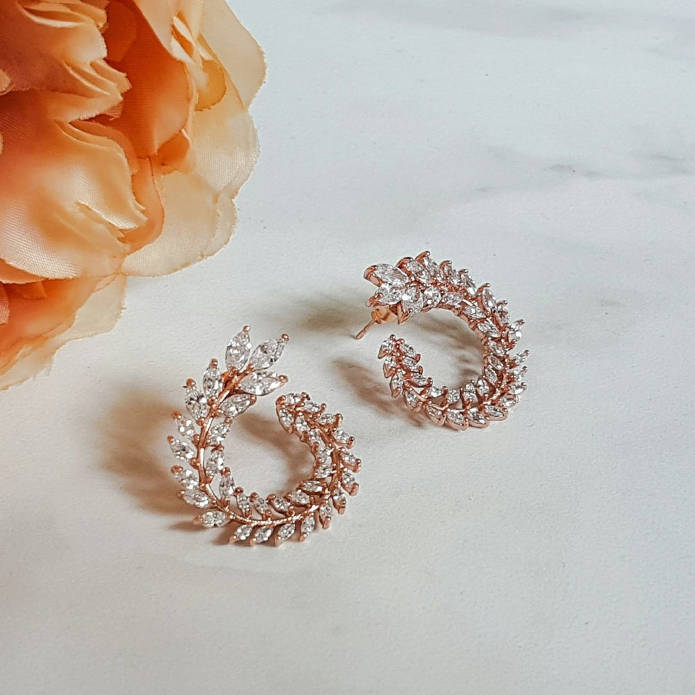 Rose gold crystal earrings for women's gift
