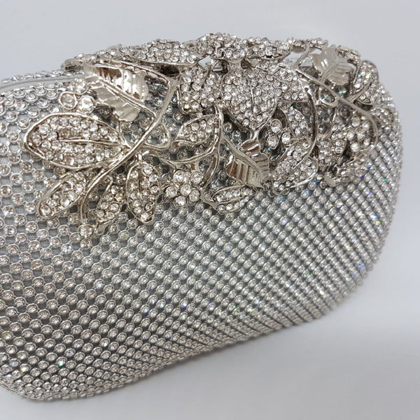 INDIA Silver Embellished Sparkle Clasp Clutch Bag
