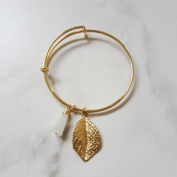 Gold Leaf Charm & Tassel Bangle