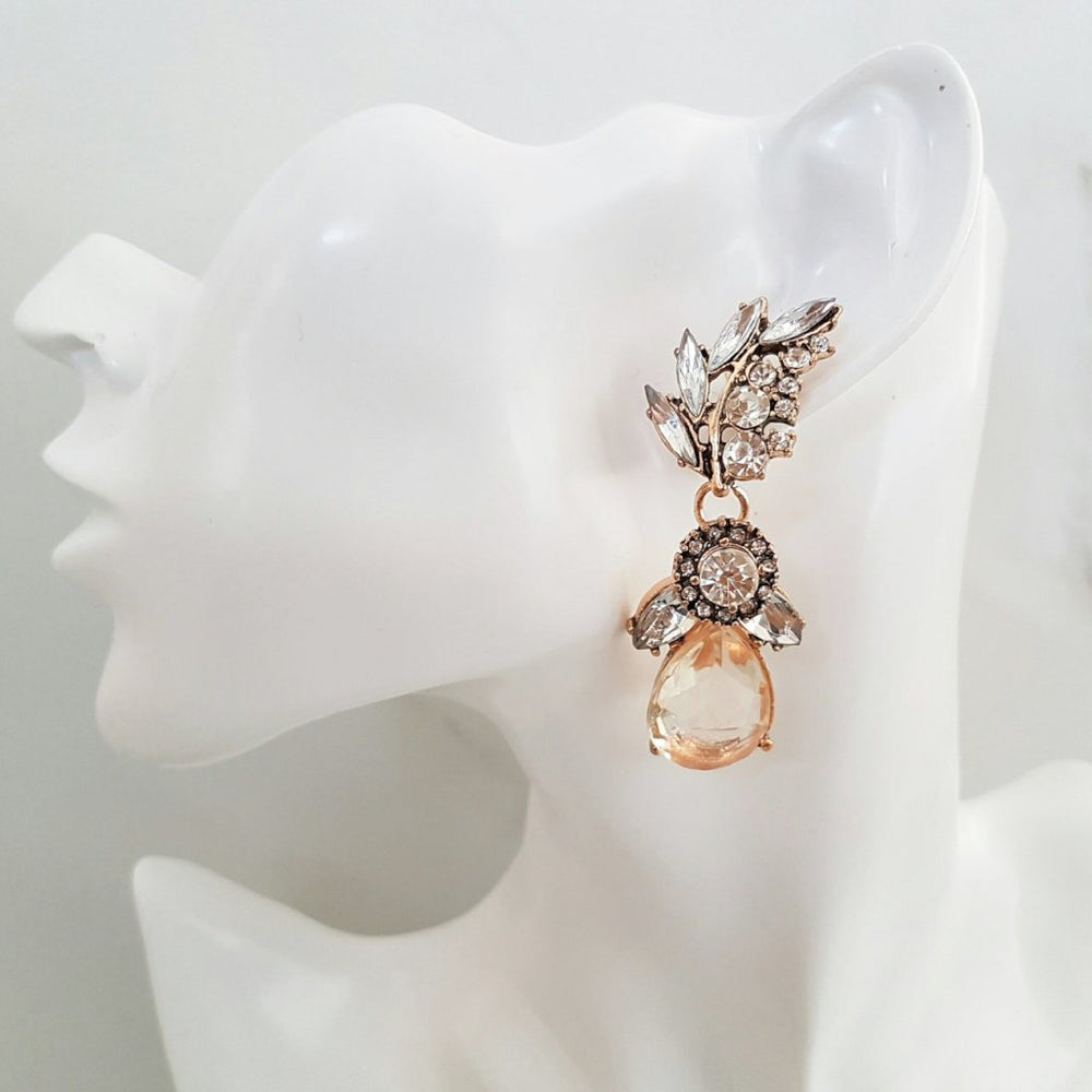 amber big rhinestone earrings