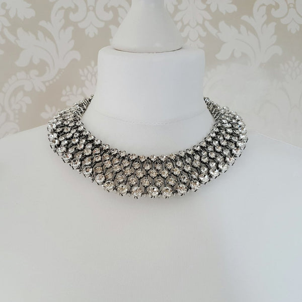 KIARA Silver Rhinestone Embellished Necklace