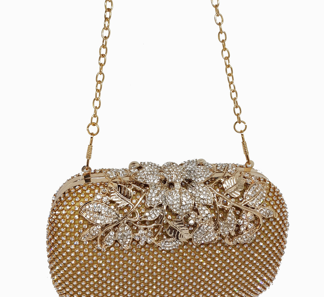 Gold chain clutch bag for womens accessories