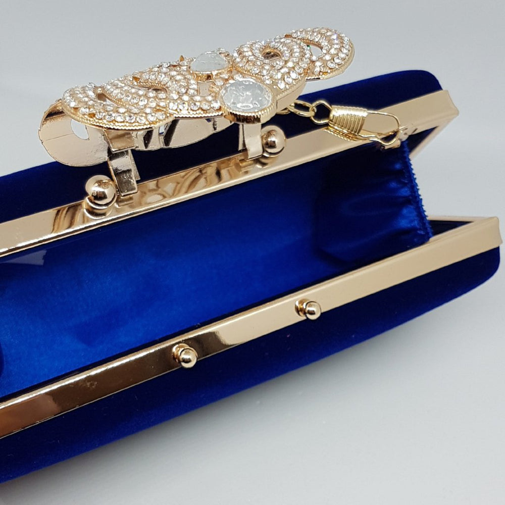 ERYN Embellished Royal Blue Suede Clutch