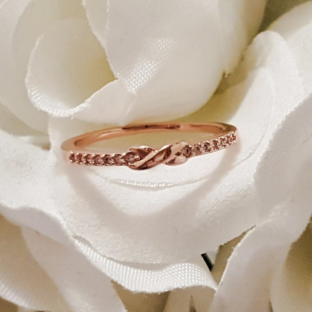 Rose Gold infinity cubic zirconia ring