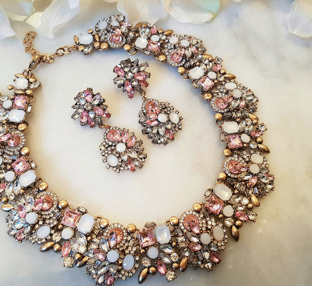 pink rhinestone necklace and earring set