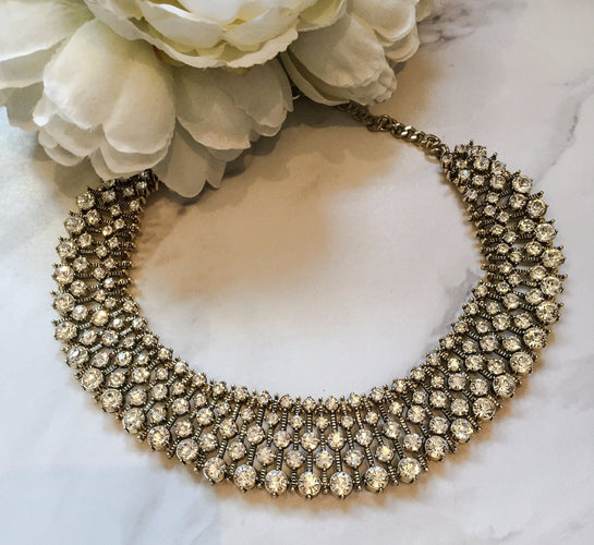 KIARA Gold Rhinestone Statement Necklace
