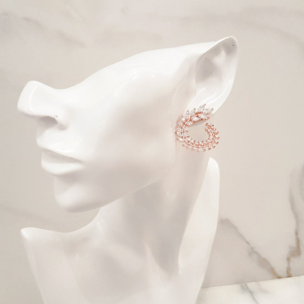 Ladies Rose Gold bridal earrings, perfect for a wedding