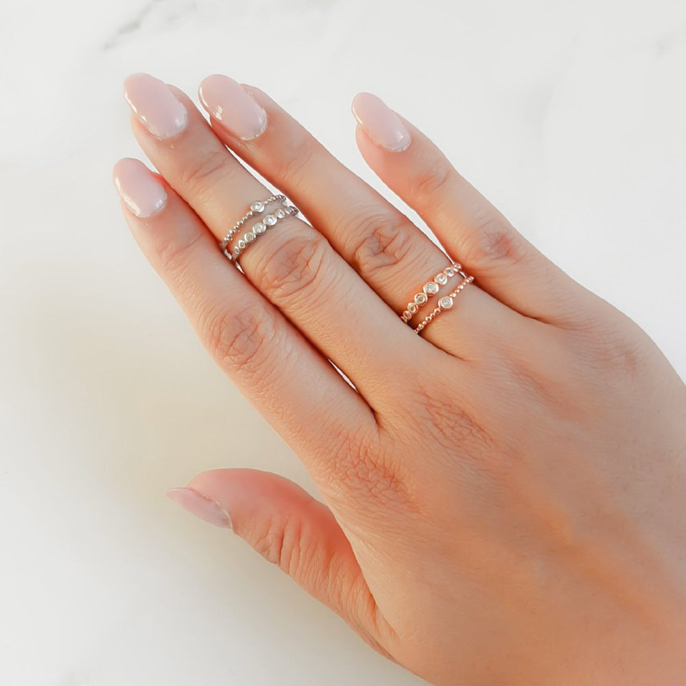 ladies dainty rings in rose gold