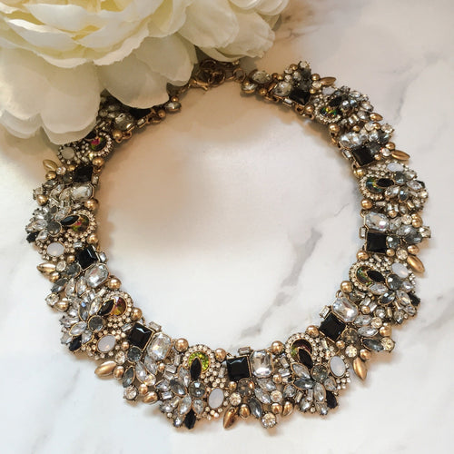 black and gold luxury rhinestone statement necklace
