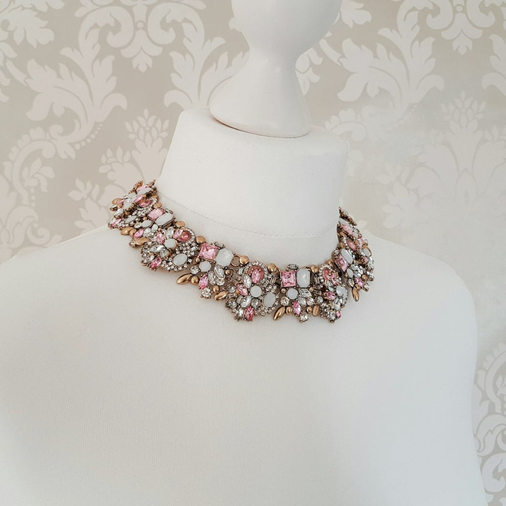 pink statement necklace and earrings